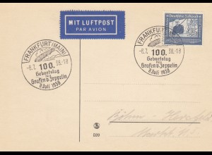 Blanko Sonderstempelbeleg 1938: Frankfurt: Geburtstag Grafen v. Zeppelin, Luftp.