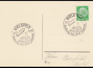 "Blanko Sonderstempelbeleg 1939: Bielefeld: Landung des ""Graf Zeppelin"""