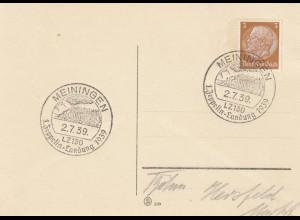 Blanko Sonderstempelbeleg 1939: Meiningen: 1. Zeppelin-Landung 1939
