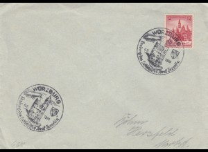 Blanko Sonderstempelbeleg 1939: Würzburg: Landung des Luftschiffes Graf Zeppelin