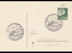 Blanko Sonderstempelbeleg 1938: Braunschweig: Ausstellung 100 Jahre Staatsbahn