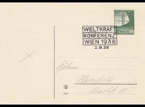 Blanko Sonderstempelbeleg 1938: Wien: Weltkraft Konferenz Wien 2.9.38