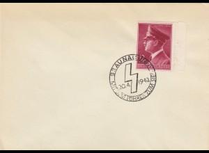 Blanko Sonderstempelbeleg 1942: Braunau: Mit dem Führer zum Sieg