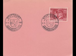 Blanko Sonderstempelbeleg 1942: Stuttgart: 5. Tag d. Großd. Briefmarkenhandels