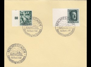 Blanko Sonderstempelbeleg 1938: Berchtesgaden: Geburtstag des Führers