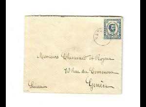 1893: Kleinformatiger Briefumschlag Celtinie nach GEnf, portogercht, Nr. 5 III