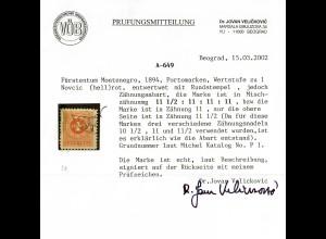 Nr. 1, Fürstentum 1894, Zähnungsabart, gestempelt, VPB Prüfung