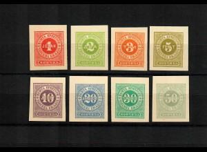 Portomarken 1. Ausgabe, vollständiger Probedrucksatz, ungezähnt, ohne Gummi