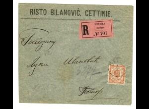 1899: R-Brief von Cetinje nach Kotor (Cattaro), 2. Gewichtsstufe, Befund