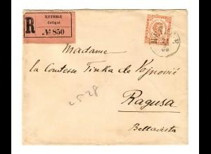 1900: R-Brief von Cetinje nach Ragusa