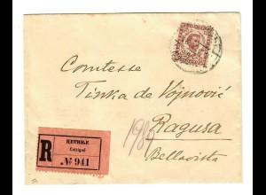 1900: R-Brief von Cetinje nach Ragusa mit Kreisstempel