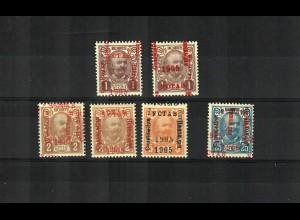 1905: 25 Heller, 1, 3, 5 Kronen, ungebraucht je mit Aufdruck