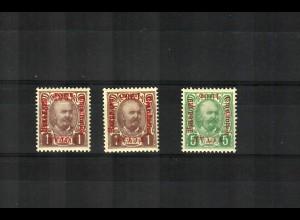 1905: 5 H grün und 2x 1 Krone lilabraun, je Type I, ungebraucht