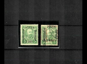 1905: 2x 5 H grün 1x ungebraucht, 1x gestempelt, Aufdruckabart schwarz