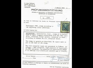 1905: MiNr. 115: Überdruck in Schwarz, gestempelt, Prüfungsbestätigung