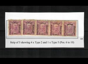 1906: 2 H rotlila waagrechter Fünferstreichen, 4x Type II, 1x Type V, gestempelt