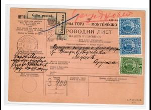 1914: Paketbegleitschein von Diakovitza (nahe Grenze zum Kosovo)