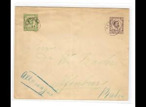 1893: Ganzsache mit Zusatzfrankatur nach Offenburg