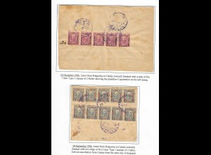 1906: 2 Briefe Podgorica to Cetinje, 1x plateflaw,