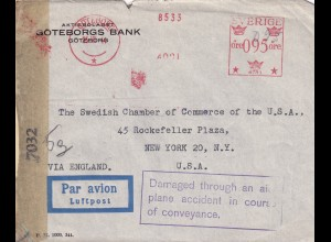 Sweden: Göteborgs Bank 1944 to New York NY, Damaged through an air plan accident