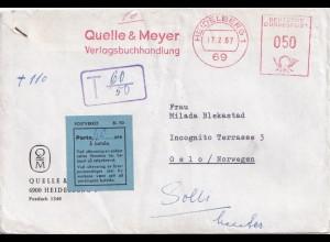 1967: Quelle&Meyer Verlag Heidelbergnach Oslo, Nachporto rückseitig frankiert