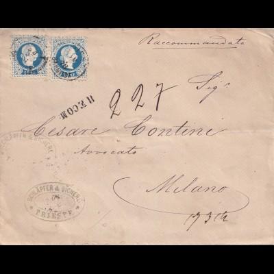 Einschreiben Triest Bahnhof nach Milano 1878