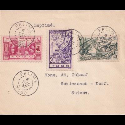 Togo: Franz. Kolonie 1937, Palime Drucksache in die Schweiz