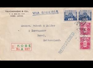 Japan registered Kobe 1928 to Switzerland, Basel - via Siberia