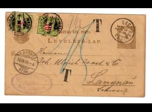 Ungarn: Nagya Kaniszka 1898 to Langnan/Schweiz, Taxe