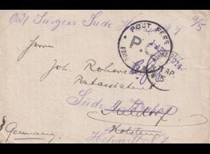 Kgf Post 1915: Indien Ahmednagar nach Deutschland nach Holstein