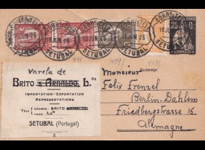 Portugal: 1925 post card Setubal to Berlin-Dahlem
