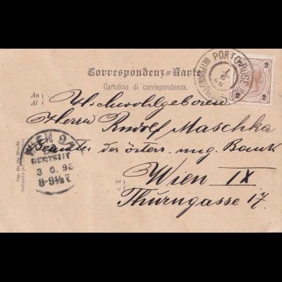 Ansichtskarte Küstenland Porto Rose bei Pirano nach Wien 1898
