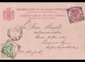 Curacao 1893 Briefkaart to Buenos Aires