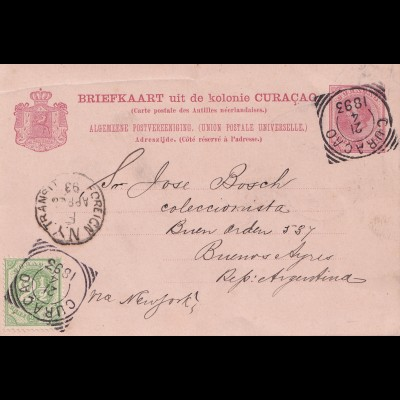 Curacao 1893 Briefkaart to Buenos Aires