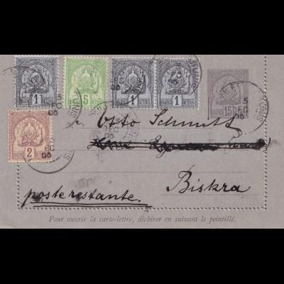 Tunesien: Kartenbrief 1905, postlagernd Biskra/Constantine