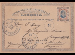 Liberia 1898 Grand Bassa to Bayreuth, post card