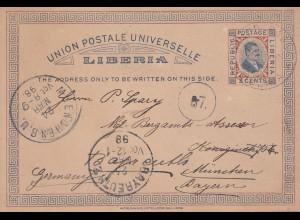 Liberia 1898 Grand Bassa to Bayreuth, post card