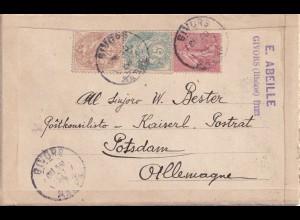 Double post card Givors to Potsdam 1906, Esperanto,