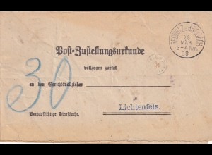 Zustellurkunde Redwitz a.d. Rodach 1928, Porto Kontroll-Stempel, Lichtenfels