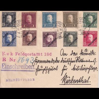 Feldpost nach Würbenthal als Einschreiben 1916, Militärpflege