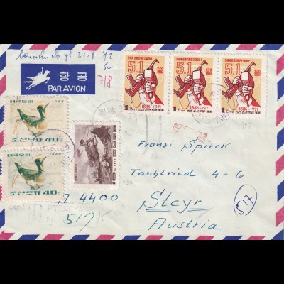 air mail Pyongyng registered - Hotel to Steyr/Austria