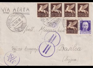 Posta Militare 1943 Nro 550 to Switzerland Basilea