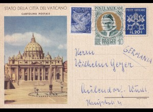 Vatikan Ganzsache 1952 nach Württemberg