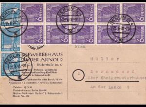 1948 Postkarte Berlin nach Zernsdorf über Königswusterhausen, 10er Block