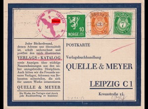 post card Sandnes 1942 to Leipzig, censor, Pastor/Religion