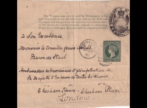 Gibraltar: 1891 front page wrapper russian consulat to London