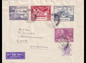 1950, air mail Hong Kong to Chur/Switzerland