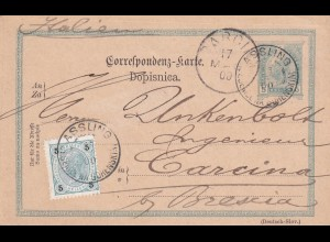 Ganzsache Assling/Krain 1900 nach Carcina/Brescia