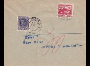 Brief Pilsen/Plzen mit Nachporto 1919
