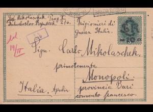 Kgf/Pow Prag nach Italien/Monopoli 1919